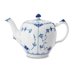 Royal Copenhagen - Blue Fluted Half Lace Teapot - Royal Copenhagen - The Blue Fluted Half Lace Collection was launched in 1775 by Royal Copenhagen. For over 200 years it has been in great demand all over the world. The hand-painted details and subtle textures really elevate this pattern to the level of art. Despite their beauty they are still strong enough for everyday use. This is a very special setting steeped in centuries of tradition. We know you will be impressed.