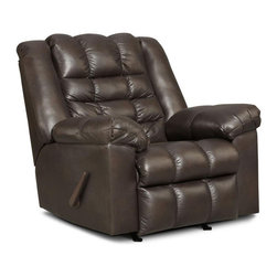 Chelsea Home - Tori Recliner in Kaden Chocolate - Transitional style. Reinforced 16 gauge border wire. Double springs used on the ends nearest the arms. Hi-density foam cores. Dacron polyester wrap. All cushions are made with zippers. Engineered wood products. Seating comfort: Medium. Made from 100% polyester and solid hardwood. Made in USA. No assembly required. 40 in. L x 43 in. W x 43 in. H (100 lbs.)