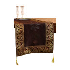 "Banarsi Designs - Hand Painted Deluxe 72-Inch by 17-Inch Table Runner, Coffee Brown - Bring artistic elegance and warmth to any room with the decorative ""Hand Painted Deluxe Table Runner"" from our Exclusive Banarsi Collection."