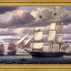 """Fitz Hugh Lane-16""""x24"""" Framed Canvas - 16"""" x 24"""" Fitz Hugh Lane Clipper Ship 'Southern Cross' Leaving Boston Harbor framed premium canvas print reproduced to meet museum quality standards. Our museum quality canvas prints are produced using high-precision print technology for a more accurate reproduction printed on high quality canvas with fade-resistant, archival inks. Our progressive business model allows us to offer works of art to you at the best wholesale pricing, significantly less than art gallery prices, affordable to all. This artwork is hand stretched onto wooden stretcher bars, then mounted into our 3"""" wide gold finish frame with black panel by one of our expert framers. Our framed canvas print comes with hardware, ready to hang on your wall.  We present a comprehensive collection of exceptional canvas art reproductions by Fitz Hugh Lane."""