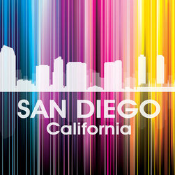 San Diego Vertical Lined Rainbow Print - Known for its zoo, Balboa Park, beautiful beaches and historic Old Town, the sunny city of San Diego shines bright in a rainbow of color. Show off a little city pride with the digital and photographic layers on this mixed-media art that captures all of its vibrancy.