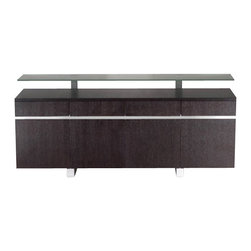 SHERES - Corona Buffet, Wenge - Contemporary buffet with floating glass top, 4 drawers, and 4 doors. An impressive statement that pairs well with any modern dining table.