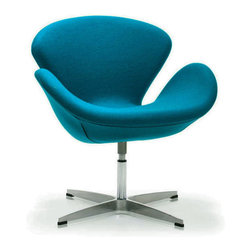 Modern Curved Swivel Chair in Turquoise - Inspired by mid-century modern furniture design principles, the Modern Curved Swivel Chair is comfortable, functional, and aesthetically pleasing. Settle into its cocoon-like seat and enjoy its swivel function. Take the chair from home office to living room and bedroom with ease.
