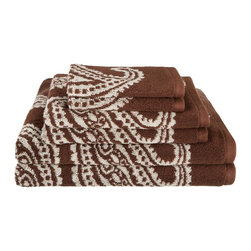 Egyptian Cotton 550 GSM Paisley 6 Piece Towel Set - Chocolate - These 550 GSM Towels feature an exotic paisley pattern. The towels are thick and absorbent while being durable and long lasting. This set includes Two Bath Towels (30x52 each), Two Hand Towels (16x28 each), Two Face Towels (13x13 each).