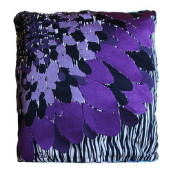 koi Design - Jazzy Pillow Throw - By day, this hand-embroidered throw pillow will brighten your couch with its bold purple petals; by night, it unfolds into a luxurious throw blanket to keep you cozy with your book or movie. The throw is plenty good looking itself, with a blue floral print one one side and a twiggy navy stripe pattern on the reverse. But it folds up so nice, you won't miss it when the sun brings back that big purple blossom.