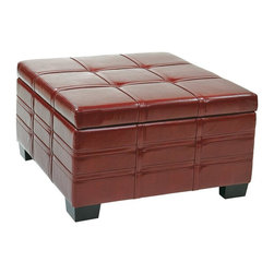 Ave Six - Strap Square Ottoman in Crimson Red - Multi-purpose capability. Slam proof hinges for safety and easy accessibility. Sliding tray inside for easy access to stored items. Solid wood legs. Intended for residential use only. Weight capacity: 150 lbs.. Made from eco leather. Assembly required. 30 in. L x 30 in. W x 17.5 in. H