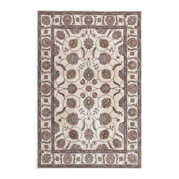 "Nourison - Nourison Modesto MDS18 5'3""x7'3"" Ivory Area Rug 18441 - Let the inspiration of the distant past add a touch of grace and elegance to your home with this Persian style carpet. A traditional Persian style motif of scrolling vines and intricate palmettes is updated with a contemporary color palette of soft shades of olive, almond and dusty pink. The resilient construction of this rug furnishes it with durability and stain resistance, making it easy to maintain."