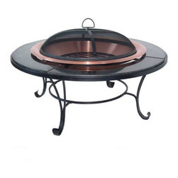 Corral - Granite Table Copper Fire Pit - The Corral Fire bowl is attractive yet durable, made with heavy steel hardware it ensures that each product will remain sturdy and secure for years to come. Add some elegance and warmth to your patio with this classic fire bowl. Features: -Unique fire bowl design with a beautiful green granite table top.-Removable screen to contain flying embers.-Heavy gauge log grate allows for proper wood burning airflow.-Granite rim adds an extra 6 inches all around the pit.-Gauge (mm): Copper 0.65 mm.-Includes screen, lifting tool, log grate and cover.-Steel frame with beautiful wrought iron finish.-Distressed: No.Dimensions: -Copper fire bowl measures 30'' diameter, table measures 40''.-Actual wood burning area measures 4'' deep.-Dimensions: 24'' H x 40'' W x 40'' D.-Overall Product Weight: 80 lbs.Warranty: -One year limited warranty.