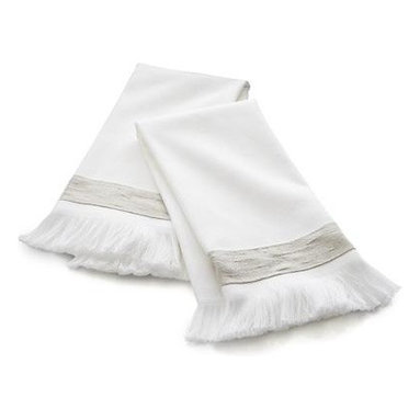 Set of two Meredith Guest Towels - Lush fringe and a band of khaki add elegant accents to crisp white guest towels.