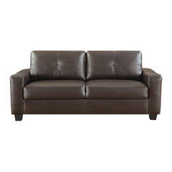 Adarn Inc - Casual Jasmine Leather Sofa w/ Plush Back Cushions Square Track Arms, Brown - This leather sofa will make a wonderful addition to your living room or den. Its contemporary shape enhances any room with big, plush back cushions and box seat cushions. A stitched design adorns the back cushions, as well as the outsides of the square track arms. The slightly flared design creates an inviting feel, and tapered wooden block feet support this sofa. Pair with the coordinating love seat and chair for a lovely room setting. Choose from smooth white or rich black bonded leather to complete the look of this sofa.
