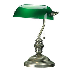 Lite Source - Banker's Lamp in Polished Brass Finish w Green Glass Shade - Incandescent bulb sold separately. Pull chain socket. UL approved. 1-Year warranty. Bulb type/watt: A/60. Shade dimension: 9 in. L x 5 in. W x 3 in. H. Lamp dimension: 10.75 in. W x 15 in. H (6.4 lbs.). Product Installation Instructions