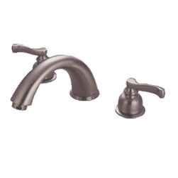 Kingston Brass - Kingston Brass Satin Nickel Roman Two Handle Roman Tub Filler KC8368 - The Roman Tub Filler blends elegance and beauty with its European charm. The burly-shaped escutcheons and stylish curved lever handles display an attractive classical theme constructed in high-quality brass.. Manufacturer: Kingston Brass. Model: KC8368. UPC: 663370020568. Product Name: Two Handle Roman Tub Filler. Collection / Series: Roman. Finish: Satin Nickel. Theme: Contemporary / Modern. Material: Brass. Type: Faucet. Features: Duraseal cartridge