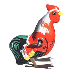 "Alexander Taron - Alexander Taron Collectible Tin Toy - Hopping Rooster - 3""H x 2""W x 3.5""D - Tin hopping rooster - key-wind - made in China. Recommended for adult collectors."