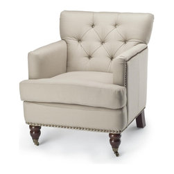 Safavieh - Safavieh Colin Tufted Club Chair X-A2128DUH - The Gavin side chair, in cream Bicast leather and with dark espresso finished legs, make an understated statement. Button tufting on the back and seat lend just the right amount of detail to Gavin's clean profile.