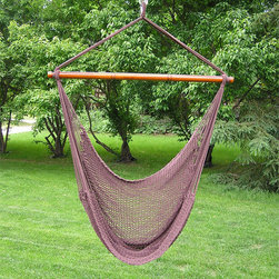 None - Deluxe Extra Large Soft Hammock Swing Chair - Sit back, relax and cozy in pure comfort. Our extra large rope hammock swing is attractive and comfortable addition to any porch, tree limb, or overhang. Kick your feet up and relax in this hand-made extra soft-spun poly rope swing.