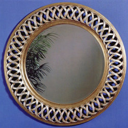 Bassett Mirror - Beveled Round Leaner Mirror in Brown & Silver - Intertwined framework and careful attention to detail are on full display with this round mirror. Plate glass is beveled for added appeal and depth. Decorative, functional mirror also boasts silver-tone leaf finish. Use in your bedroom, living areas and everywhere in between. Decorative mirror. 45 in. L x 45 in. H (18 lbs.)