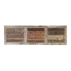 Recycled Wood Distressed Wall Panel with Hooks - Recycled Wood Distressed Wall Panel with Hooks