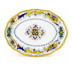Artistica - Hand Made in Italy - Raffaellesco: Oval Platter - Raffaellesco Collection: Among the most popular and enduring Italian majolica patterns, the classic Raffaellesco traces its origin to 16th century, and the graceful arabesques of Raphael's famous frescoes.