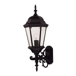 Exterior Collections Wall Mount Lantern - Decorate your favorite outdoor spaces to bring a sense of style Al Fresco!Weight: 9. 00 lbsFinish: BlackBulb Wattage: 60Glass: Clear BeveledNumber of Bulbs: 1Candle Covers: Black MetalType of Bulb: EExtends Length: 11. 00Bulbs Included: NoBackplate Width: 4. 50Backplate Height: 7. 13Safety Rating: UL, CULUL Wet/Damp Location: UL Wet LocationVoltage: 120