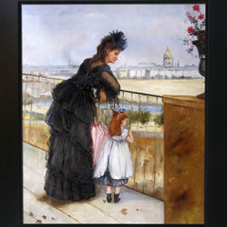 """overstockArt.com - Morisot - Woman and Child on a Balcony - 20"""" X 24"""" Oil Painting On Canvas Hand painted oil reproduction of a famous Marisot painting Woman and Child on a Balcony . This is a remarkable oil painting with exceptional use of color, detail and brush strokes. Today the painting has been carefully recreated detail-by-detail, color-by-color to near perfection. Berthe Morisot was a painter and a member of the circle of painters in Paris who became known as the Impressionists. She was a leading female impressionist artist alongside Marie Bracquemond and Mary Cassatt. In 1864, she exhibited for the first time in the highly esteemed Salon de Paris. Sponsored by the government, and judged by Academicians, the Salon was the official, annual exhibition of the Academie des beaux-arts in Paris. Her work was selected for exhibition in six subsequent Salons until, in 1874, she joined the """"rejected"""" Impressionists in the first of their own exhibitions, which included Paul Cezanne, Edgar Degas, Claude Monet, Camille Pissarro, Pierre-Auguste Renoir, and Alfred Sisley. It was held at the studio of the photographer Nadar. She became the sister-in-law of her friend and colleague, Edouard Manet, when she married his brother, Eugene."""