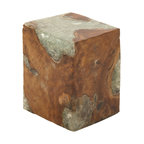 Stable and Useful Wood Teak Resin Foot Stool - Description: