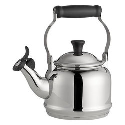 "Le Creuset® Demi Stainless Steel Whistling Teakettle - The stovetop classic from the fine craftsmen at Le Creuset is down-sized and updated in gleaming stainless steel. Perfect for smaller kitchens or ""tea for two,"" the Demi features the same stay-cool handle and pleasant whistle."