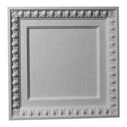 """Ekena Millwork - 24""""W x 24""""H Egg & Dart Ceiling Tile - 24""""W x 24""""H Egg & Dart Ceiling Tile. Our ceiling medallion collections are modeled after original historical patterns and designs. Our artisans then hand carve an original piece. Being hand carved each piece is richly detailed with deep relief, sharp lines and a truly unique touch. That master piece is then used to create a mould master. Once the mould master is created we use our high density urethane foam to form each medallion. The finished look is a beautifully detailed, light weight, solid construction, focal piece. The resemblance to original plaster medallions is achieved only by using our high density urethane and not vacuum formed, plastic type medallions. Medallions can be cut using standard woodworking tools to add a hole for electrical or a ceiling fan canopy. Medallions are light weight for easy installation. They are fully primed and ready for your paint."""