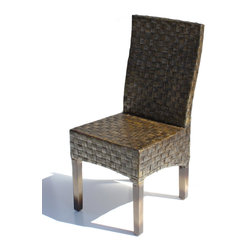 Wicker Paradise - Rattan Chair - Java - The Java dining chair is finished in a warm ash color and features a basket weave design on a  solid wood frame.