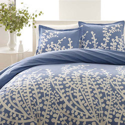 City Scene - City Scene Branches French Blue 3-piece Comforter Set - Make your contemporary bedroom more appealing with this pretty,three-piece comforter set from City Scene. It features a clean look that combines outdoor beauty and modern style. The French,blue cotton set is machine washable for convenience.