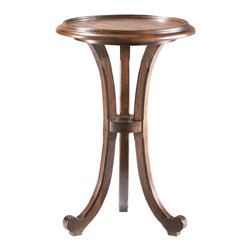 Sherrill Occasional - Sherrill Occasional Drink Stand 382-910 - Casual round chairside table or drink stand with a shaped molding gallery rail surrounding the pecan veneered top.