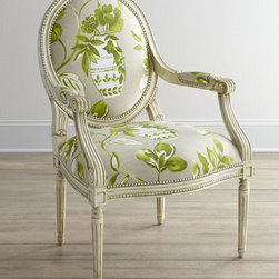 """Massoud - """"Brinna"""" Chair - GREEN PATTERN - Massoud""""Brinna"""" ChairDetailsOne of our favorite frames arrives dressed in an oversized urn-and-floral motif for a chair that instantly refreshes any room. We particularly like the way the beading on the frame echoes the striking nailhead trim.Handcrafted of beechwood with cotton upholstery.27""""W x 28""""D x 41""""T. Seat 19""""T; arms 27""""T.Made in the USA.Boxed weight approximately 70 lbs. Please note that this item may require additional delivery and processing charges.Designer About Massoud:Company president Chuck Massoud's father combined his entrepreneurial spirit with loans from three friends to start Massoud Furniture in 1962. Since then the Massoud family has been crafting its distinctive brand of custom seating. Massoud is credited for putting pitch in their wing chairs leaning them back slightly makes them so much more comfortable than the classic wing chair with a straight back. All Massoud furniture features kiln-dried hardwood frames and the finest leathers and fabrics available. They also employ multiple support rails reinforced corner blocks mortise-and-tenon joinery and suspended coil systems for comfort and quality craftsmanship that lasts a lifetime."""