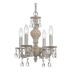 Crystorama - Mini Chandelier - The Sutton Collection uses a textured Antique White finish to remind us of a Paris flea market. The combination of wrought iron with clear crystal accents makes this fixture both timeless and whimsical. This Paris Flea chandelier works perfectly in small spaces and children's rooms.