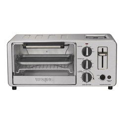"Waring - Professional Toaster Oven / Toaster Combo - Features: -Toaster. -1500-Watt toaster oven/toaster combo. -Includes one reversible oven/broil rack, one bake/broil pan and two crumb trays. -Toaster side has two 1.3-inch wide toasting slots and carriage lever. -Toaster side has bagel button and shade control. -Oven side has 4-slice. -Oven side has bake, broil or toast functions. -Oven side has temperature control dial and 30-minute timer/shade control dial with bell signal. -Oven side has two rack-levels to accommodate a variety of foods. -Oven side has tempered glass door allows you to view while cooking. -Package contents: Toaster oven/toaster combo, one oven/broil rack, one bake/broil pan, two crumb trays, manual. -Capacity: 0.45 cu. ft.. -Limited: 1 year warranty. -Dimensions: 8"" H x 10.5"" W x 19"" D. User Manual Specification Sheet"