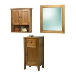 Foremost - Foremost Exhibit 28 in. Mirror and Wall Cabinet and Floor Cabinet - Foremost TRIM2834COMBO Exhibit 28 in. Mirror and Wall Cabinet and Floor Cabinet, Rich Cinnamon