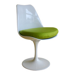 """Tulip Side Chair, Green - Designed by Eero Saarinen in 1956, this functional work of art represents the most important classics in modern furniture history in miniature scale of 1:6. It featured a sculptural continuous seat and back which rested on a curved tapered base that became a key character trait of the pedestal series. The chair is often considered """"space age"""" for its futuristic use of curves and artificial materials. The design was popularized by its use on the original Star Trek television series (1966-69)."""