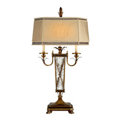 Fine Art Lamps - Newport Table Lamp, 549410ST - Distressed mirrors make a unique base for this table lamp. Its burnished gold finish with silver highlights and hand-sewn silk shade featuring filigree banding will add stately impact to your living room or study.