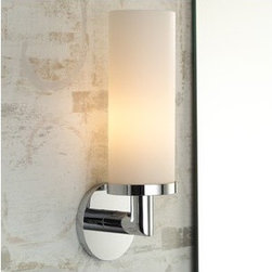 Kubic Bathroom Sconce | Lightology - This is a great sconce to use in a contemporary bathroom, as lighting for the vanity mirrors or simply on the walls to add visual interest and to bring the eyes focus down.