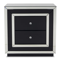 Zuri Furniture - Malibu Mirrored 2-drawer Night Stand - The sophisticated and ultra modern Malibu night stand is accented with a mirrored, contrasting black mirrored finish and crystal drawer pulls. The Malibu contemporary night stand was designed to be a true statement-maker as well as functional with two spacious drawers. Complete the set with the Malibu dresser.