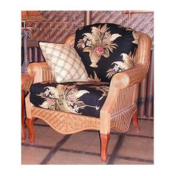 Spice Island Wicker - Wicker Chair in Cinnamon (Palm Floral Garden - All Weather) - Fabric: Palm Floral Garden (All Weather)With all the selections of fabric available in this beautiful, relaxing, and exquisitely comfortable armchair, it's like having a true master personally craft a custom chair out of the highest quality materials available, just for you!  And with the beautiful cinnamon finish on this lovely wicker armchair, what can you complain about?  Woods and weaves make a perfect pairing and this beautiful arm chair proves it.  Cinnamon finished wicker creates the warmest glow supported by the subtle cabriole curved legs.  Waved apron and rolled arms add extra appeal that surround the cushioned comfort. * Solid Wicker Construction. Cinnamon Finish. For indoor, or covered patio use only. Includes cushion. 35 in. W x 41 in. D x 36.5 in. H