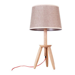 ParrotUncle - Tripod Legs with Platform Wood Base Table Lamp - This table lamp is in wood tripod base. And there is a small platform at hillside, which allows you to put books or glasses there. Large fabric shade will filter out the most soft lighting for you. It is perfect for your living room and bed room.