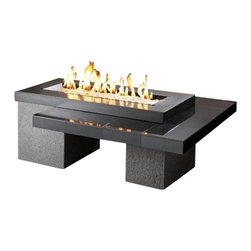The Outdoor Greatroom - Uptown Chat Height Gas Fire Pit Table With 42x12 Inch Burner, Black - A modern look in granite and stucco, the Uptown fire pit table comes with a spectacular 42 inch long stainless steel burner. It is designed with clean, simple lines, and engineered to showcase a stunning glowing fire that is sure to heat up your outdoor space. This two-tier table is functional as well as beautiful and makes for a perfect area to entertain. This fire pit table comes with a rectangular 24x12 inch stainless steel Crystal Fire Burner that will truly light up the night and add warmth to your outdoor space. These burners are made from high quality stainless steel and include tempered, tumbled glass, an LP hose and regulator, a metal flex hose, a gas valve, and a push button sparker. With just a push of a button, a beautiful clean-burning fire appears atop a bed of highly reflective Diamond glass fire gems. All burners are shipped with orifices for LP or NG fuels and are UL approved for safety and quality. Adjust the flame height to your desired setting and enjoy the magic and ambience of a warm glowing fire.