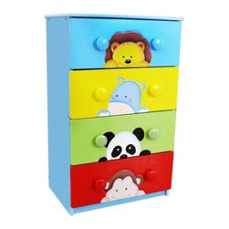 Teamson Design Sunny Safari 4 Drawer Chest - Give your child a whimsically wild place to keep toys and clothes with the Teamson Design Sunny Safari 4 Drawer Chest. This chest features all wood construction with a colorful, hand-painted finish. Its animal theme offers charming characters of a panda, lion, hippo, and monkey. Round pulls make it easy for little hands. Spacious drawers are perfect for toys, clothes, books, games, and more.About Teamson DesignBased in Edgewood, N.Y., Teamson Design Corporation is a wholesale gift and furniture company that specializes in handmade and hand-painted kid-themed furniture collections and occasional home accents. In business since 1997, Teamson continues to inspire homes with creative and colorful furniture.