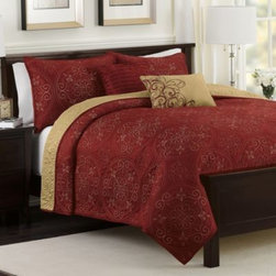 Sunham Home Fashions, Llc - Medallion Reversible Quilt Set in Claret - Transform your bedroom into a beautiful, tranquil escape with the Medallion reversible quilt set. This gorgeous quilt features an exquisitely stitched medallion motif on a luxuriously soft quilted ground that reverses to a poly matte satin.
