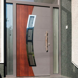 "Modern Front Entry Doors - ""Miami"" - aluminum entry door complete with door frame and handles. Comes in different finishes: white, silver, gray, brown and black. The price includes the main door, rectangular transom and two sidelights."