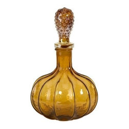 "IMAX - Elsie Small Nobnail Amber Glass Bottle with Stopper - Amber glass is crafted into an elegant small glass bottle shape and topped with a hobnail pattern stopper. Item Dimensions: (14""h x 8.75""d)"