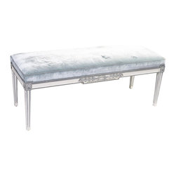 SOLD OUT!   Louis XVI Style Pale Blue Mohair Bench - $2,100 Est. Retail - $840 o -