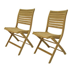 International Home Miami Corp - International Home Miami Amazonia Teak Set of 2 Dublin Folding Chair - International Home Miami Corp - Outdoor Chairs - SC Palu_Set - Add a relaxed feel to your outdoor space with this sleek pair of Dublin folding chairs in a subtle brown shade. Made from premium quality teak wood, they are durable and strong. Their teak wood frame can be protected by a Ferons wood sealer preservative which comes with the set. Their elegant frame in an easy to use folding design can blend in with all decor settings.