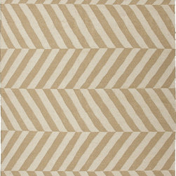 Jaipur Rugs - Flat Weave Stripe Pattern Beige /Brown Wool Handmade Rug - MR28, 9x12 - An array of simple flat weave designs in 100% wool - from simple modern geometrics to stripes and Ikats. Colors look modern and fresh and very contemporary.