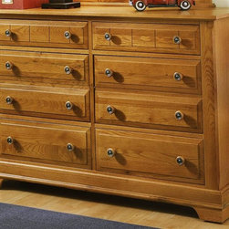 Vaughan Bassett - 6-Drawer Double Dresser in Oak Finish - 6 Drawers. Oak finish. Assembly required. 52 in. W x 18 in. D x 36 in. H. Vertical mirror: 35 in. L x 2 in. W x 40 in. H(optional)