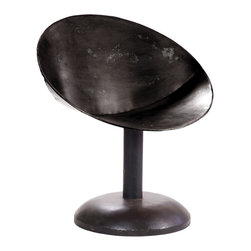 Saucer Chair - Distressed Black - This re-design of the sleek classic Saucer Chair in metal evokes space age sensibilities and will excite your dining, living or lounge space. May be used indoors or out but should be covered in the event of moisture to preserve finish. Available with orange or black distressed finish and antiqued black base.
